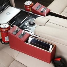 Buy Koreanx® Car Storage Box Console Seat Slit Pocket Catch Pouch with Foldable Cup Holder and 4 USB Charging Port at Wish - Shopping Made Fun Organizer Box, Car Seat Organizer, Car Organizers, Car Storage Box, Extra Storage, Kombi Home, Car Essentials, Car Gadgets, Car Hacks