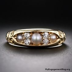Victorian 18k gold pearl and diamond engagement ring - My Engagement Ring