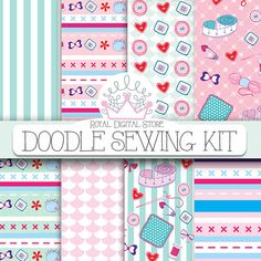 "Sewing Digital Paper: ""DOODLE SEWING KIT"" with 12 sewing backgrounds, sewing pattern, scrapbook kit for scrapbooking, cards and other crafts"