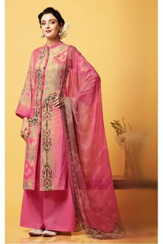 Office Wear Pink Chiffon Palazzo Suit  - 81256