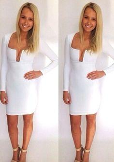 Long Sleeve Deep Plunge Neckline Short Dress