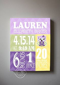 http://niceshop-online.com/wp-content/uploads/2015/01/Baby-Shower-Gift-Baby-Birth-Announcement-Canvas-Art-Girl-Nursery-Canvas-Art-Personalized-Wall-Hanging-Purple-Girl-Room-Dcor-Owl-Size-10x12-0.jpgからの画像