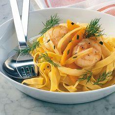 Jakobsmuscheln auf Orangennudeln - scallop with orange pasta