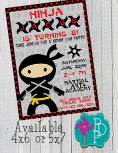 Birthday Party Invitation Template Ninja Party Ideas For The