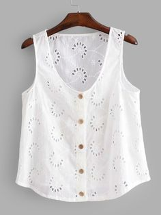 SHEIN offers Eyelet Embroidered Button Front Top & more to fit your fashionable needs.To find out about the [good_name] at SHEIN, part of our latest Tank Tops & Camis ready to shop online today! Sewing Blouses, Diy Dress, Diy Clothes, Blouse Designs, Casual Looks, Blouses For Women, Fashion Outfits, Tank Tops, Dresses