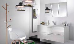Plan vasque céramique, meuble sous vasque glossy laqué blanc et miroir 3D Delpha Unique 123 Double Vanity, Bathroom, 3d, Unique, Master Bathroom Vanity, White Shellac, Mirror, Washroom, Full Bath