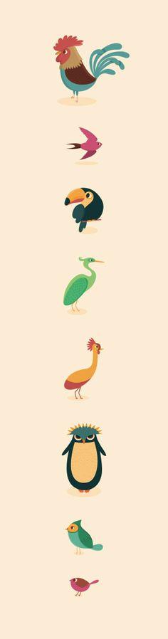 Genera Avium, Genera Piscis by Raquel Jove, via Behance Chicken Illustration, Cute Illustration, Illustration Inspiration, Graphic Design Inspiration, Art Graphique, Illustrations And Posters, Animal Illustrations, 2d Art, Animal Design