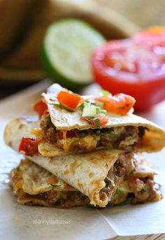 Picadillo Quesadillas | Skinnytaste Simply Filling:  Use power food tortilla or wrap and fat free cheese.  Count only the olives in the picadillo.