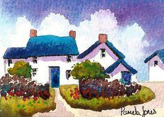 ACEO Original watercolour Corner Cottages by Pamelajonesartstudio, £5.50