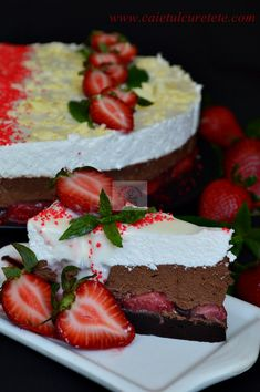 Romanian Food, Cooking Recipes, Healthy Recipes, Food Cakes, Something Sweet, Mousse, Cake Recipes, Cheesecake, Strawberry