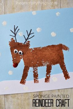 This sponge painted Reindeer craft is great for reinforcing shapes and makes a great Christmas Craft for kids.