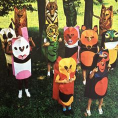 Playsacks paper costumes, United Kingdom, 1971, by Trendon Toys, distributed in the United States by Creative Playthings.