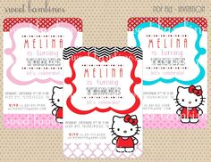 NEW - Hello Kitty Invitation - PDF file. $12.00 USD, via Etsy.