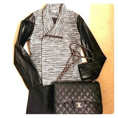 🌺3X-HOST PICK🌺 NEW jacket Pleather sleeves black, grey, white, silver beautiful weave jacket. Great for the holidays, and beyond. Side zipper. Poly/Rayon blend. Hand wash in cold water. 41 Hawthorn Jackets & Coats Blazers