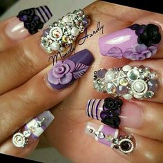 Shades of purple Mix match coffin nails with 3d flowers and bling