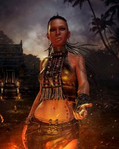Citra (?) from Far Cry 3, but I think she looks like Yeine from The Hundred Thousand Kingdoms.