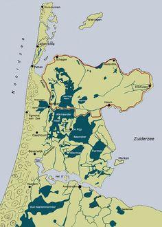 1288-1300 aanleg 'west-friese omringdijk' (126km) | werd in 17e eeuw na verval weer opgeknapt | gedeelten zijn nog steeds aanwezig | jan adriaanszoon leeghwater werd in 1575 in de rijp geboren Holland Map, Old Maps, Topographic Map, Historical Maps, Blue Area, World History, Old Pictures, Netherlands, Old Things