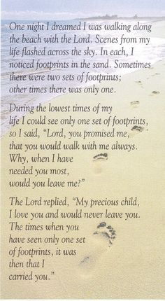 """Footprints in the sand"" this is one of my all time favourite poems Trust in The Lord, all things are possible with God! Now Quotes, Bible Quotes, Great Quotes, Quotes To Live By, Inspirational Quotes, Faith Quotes, Faith Sayings, Insightful Quotes, Motivational Images"