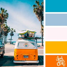 25 Summer Color Palettes This collection of color schemes and color palettes are inspired by summer. Colour Pallette, Color Palate, Colour Schemes, Color Combos, Beach Color Schemes, Retro Color Palette, Vintage Color Palettes, Interior Design Color Schemes, Orange Palette