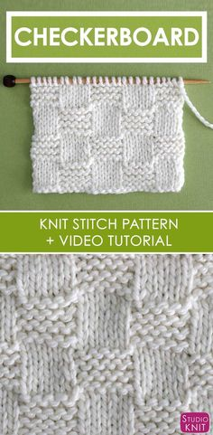 How to Knit the Garter Checkerboard Stitch with Studio Knit is part of Knitting and Crochet - How to Knit the Garter Checkerboard Stitch with Free Written Pattern and Video Tutorial by Studio Knit knitting Knitting Stiches, Loom Knitting Patterns, Knitting Kits, Knitting Designs, Free Knitting, Stitch Patterns, Knitting Tutorials, Knitting For Beginners Projects, Knit Stitches