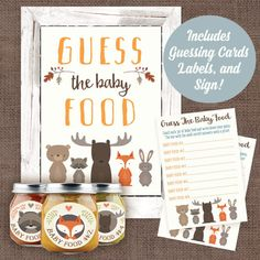 Woodland Animal Baby Food Guessing Game Baby Shower