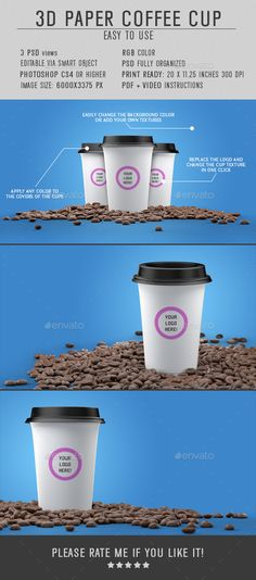 3D Paper #Cup #Mock-up for #Coffee - Food and Drink #Packaging