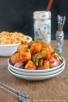 THE CHEF and HER KITCHEN: Chilli Paneer Dry Recipe | Chinese Veg Starters