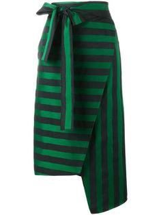 ROCHAS stripe asymmetric skirt. #rochas #cloth #skirt