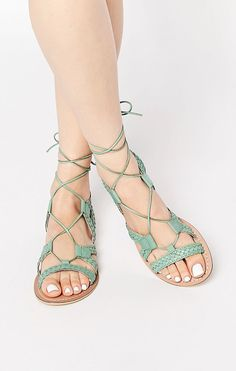 Browse online for the newest ASOS FOR LOVE Leather Lace Up Sandals styles. Shop easier with ASOS' multiple payments and return options (Ts&Cs apply). Ankle Wrap Sandals, Cute Sandals, Lace Up Sandals, Open Toe Sandals, Leather Sandals, Ankle Strap, Strap Sandals, Green Sandals, Green Shoes