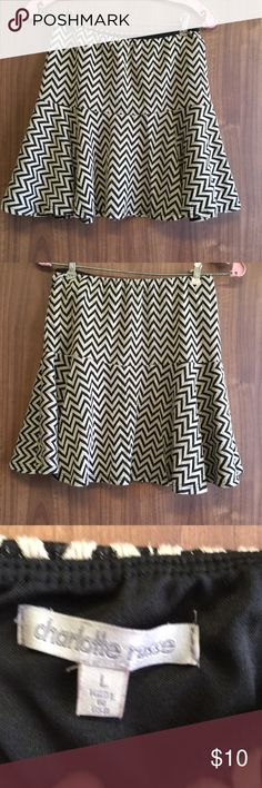 NWOT brown and beige chevron mini skater skirt Charlotte Russe brown and beige chevron mini skater skirt. In excellent condition, never wore it but took the tags off. Charlotte Russe Skirts Circle & Skater