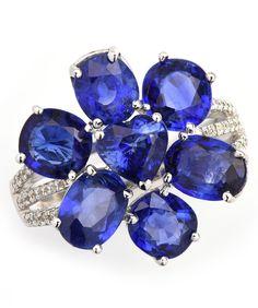 Blue Sapphire Flower Ring Item #416-16517 7.74 ctw Blue Sapphire Multi-shape & 0.23 ctw Diamond Round 18K White Gold Ring Size 7 - Gem Shopping Network