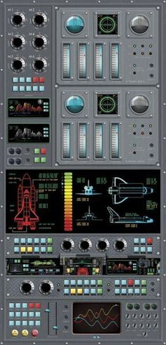 Spaceship Control Panel Wall Mural - Novelty Wallpaper
