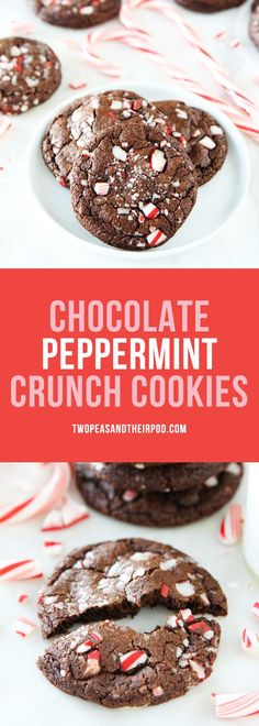 Chocolate Peppermint Crunch Cookies-chocolate cookies with candy cane pieces are the perfect Christmas cookies! #Christmas #cookies #Christmascookies #holidays