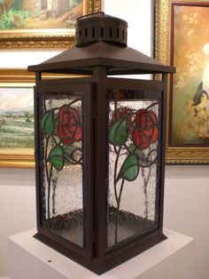Stained Glass Rose - Lantern by Marilou Rivera