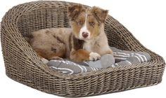 Sofá para perro de mimbre  _0