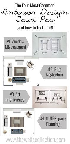 The four biggest interior design faux pas! #AreaRugs #Placement #Furniture #Arrange #Curtains