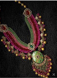 VeroniQ Trends-Royal Multistrand Necklace in Faux Gems, Meenakari Work,Kundan Stones for D81-Wedding