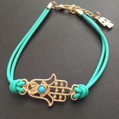 Lucky Handmade Bracelet New Fashion Jewelry leather bracelet  Charm Hamsa Hand Good Luck Evil Eye Rope women Bracelet
