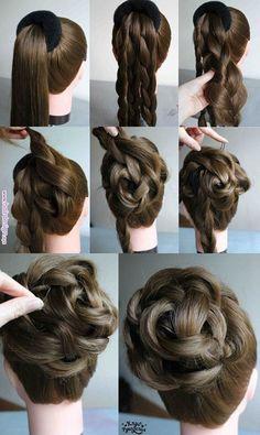 Beautiful elegant braided bun over a hair donut. Great hairstyle for a wedding or prom. 10 easy elegant wedding hairstyles that you can diy Pin by Kim on Hair and beauty Hairstyles for long and thin – Stamp Nail Desing Hairdo with donut Belleza y Estét Pretty Hairstyles, Girl Hairstyles, Braided Hairstyles, Popular Hairstyles, Wedding Hairstyles, Hairstyles Videos, Hairdos, Super Easy Hairstyles, Evening Hairstyles