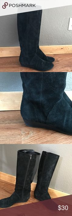 "Nine West Suede Leather Wedge Boots 6.5 Black Only worn a few times. 1"" wedge. Zips up on the inside. Soft suede Leather. Size 6.5. Minor scuffing at toes but goes with the esthetic of the boot: 20% off all bundles! 🇺🇸 Nine West Shoes Heeled Boots"