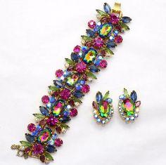 VTG Juliana D&E Book Piece Watermelon Rhinestone Demi Parue Bracelet  Earrings #Juliana