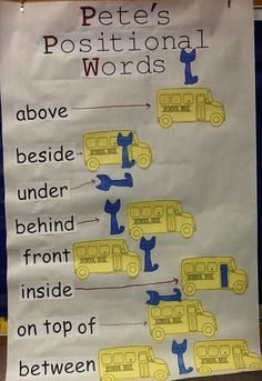 Christina's Kinder Blossoms: Positional Words with Pete the Cat: The Wheels on the Bus