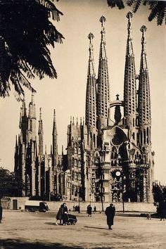 La Sagrada Familia, older shot (still under construction to this day) Antoni Gaudi - Barcelona, Spain