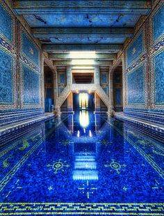 The Azure Blue Indoor Pool at Hearst Castle.     William Randolph Hearst's famous estate and castle, now a state historical monument. San Simeon, Ca.