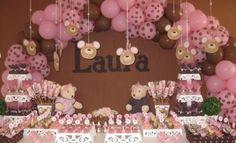 Festa Infantil Marrom e Rosa - Decoração Simples e Barata