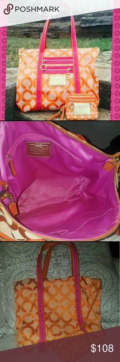 Coach Poppy orange pink purse & wallet Listing is for both wallet and purse 100% authentic pink/orange Coach Poppy. SEE RATINGS :) #60949-13826  Carried a few times. Overall the bag is in good condition. Inside is a little dirty due to makeup but is all  clean-able *Does have a few marks on the outside that could easily come out with washing not really noticable though(see pictures). Wallet is dirtier but all it needs is cleaning all removable   **Bag is 14 inches with 9 inch straps. Coach…