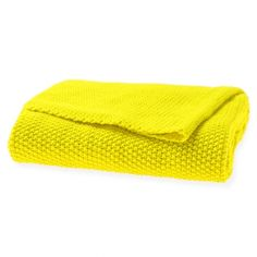 Moss stitch bright yellow throw - hardtofind.