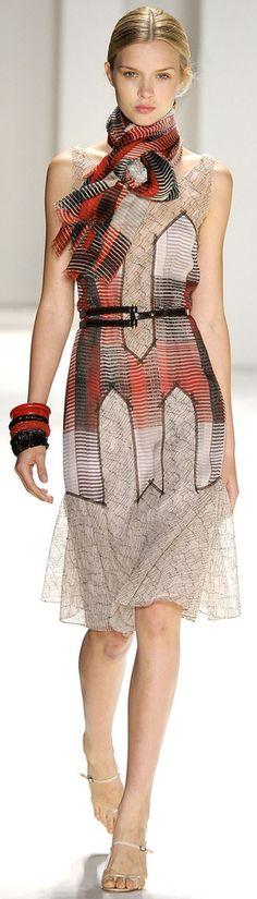 Love the idea of the dress with coordinated scarf...Carolina Herrera