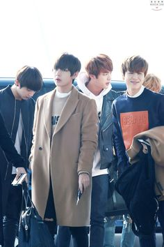 150307- BTS Jeon Jungkook, V (Kim Taehyung), Jin (Kim Seokjin), and Park Jimin @ Incheon Airport #bts #bangtanboys #fashion #style #korean #kpop