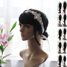 Vogue Crystal Rhinestone Embellished Hair Band Wedding Accessorize Satin Ribbon
